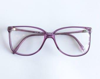 Vintage 1980's Transparent Ultraviolet Oversized Plastic Eyeglasses