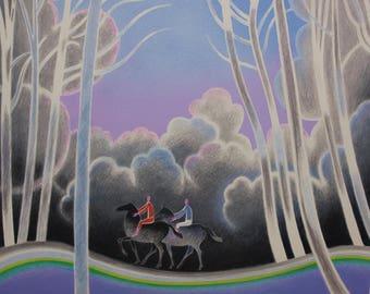 Vintage Large and Colorful Lithograph Promenade En Foret  - Albert Zavaro