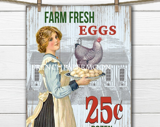 Shabby Farm Fresh Eggs Digital, Vintage Style, Antique graphics, Kitchen Farm Hen Chicken Print, Instant Download Transfer Image