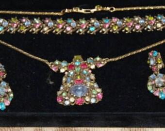 50s Signed Hollycraft 6 Piece Jewlry Set Rhinestone Necklace Bracelet Earrings Brooch Pin Vintage Stunner