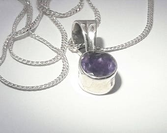 Sterling Silver Amethyst Pendant Necklace/Vintage Amethyst/February Birthstone/Free Shipping US/Anniversary, Birthday, Christmas, Valentine