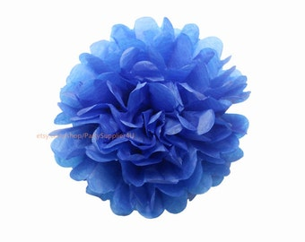Royal Blue Tissue Paper Pom Poms 1 Large 14 inch Tissue Paper Flowers For Wedding Nursery Shower Party Decoration