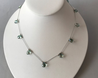 Mystic Topaz Necklace, Tin Cup Style, Silver beads, Silk