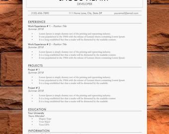 Original Resume Template | Simple CV Template | Basic Cover Letter Template | Modern Design | Easy Edit | Instant Download