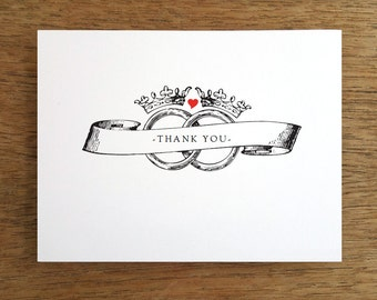 Printable Thank You Card - Instant Download Thank You Note - Print & Fold Thank You PDF - Thank You Card Template - Wedding Ring Thank You