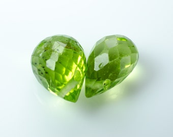 Faceted Peridot Teardrop Briolettes