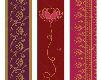 Lotus Tall Ornaments - Printable Digital Sheet