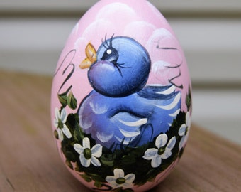 Hand Painted Blue Bird Egg, Hand Painted Easter Egg, Blue Bird, Easter Egg, Easter Gift,  Personalized Gift, Personalized Easter Egg