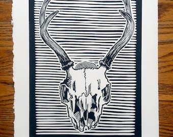 Found Skull No. 1 Woodcut