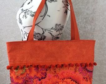 Handmade Beach tote shoulder bag Pom Pom shopping day bag purse fabric shopper Philip Jacobs Kaffe Fassett Brassica Cabbages