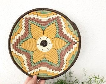 "Vintage coiled African Wall basket • 10"" Star Flower Wall Basket • Boho Decor"