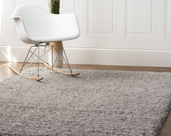 5ft. x 8ft. Gray Shag Rug Thick Soft Cozy Stain-Resistant Pile