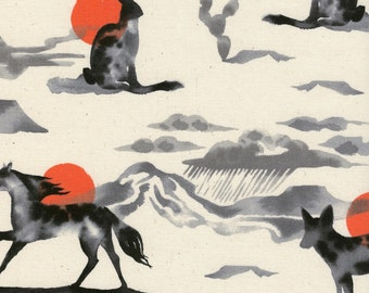 Mirage Red Unbleached Cotton Fabric Santa Fe Collection for Cotton & Steel Fabrics, Sarah Watts, Horses, Rabbits, Coyote