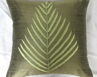 Olive green fern leaf throw pillow. Olive green dupioni cushion silk cushion cover     spring pillow  16 inch  custom made