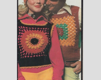 Retro Crochet Tank Top Patterns (6) - Hippy 1970's Granny Squares Style