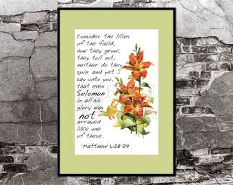 Matthew 6:28-29 Art Print Consider the Lilies of the Field, How they grow. Lilies vintage illustration Matthew 6 28 29