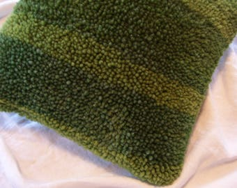 Mid Century Hand Hooked Pillow Green Accent Pillow Vintage