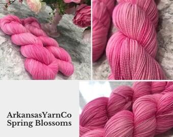 Spring Blossoms/Hand Dyed Yarn/Indie Dyed Yarn/Knitting/Crochet/Sock Yarn/Shawl yarn/SW Merino Nylon/Tonal yarn/ArkansasYarnCo/