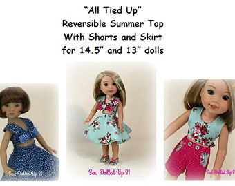 All Tied Up Summer Wardrobe PATTERN for 14 and 13 inch dolls
