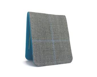 Customizable Mens Wallet / Super Thin Billfold Wallet / Grey Herringbone Wool / Non-Leather Wallet