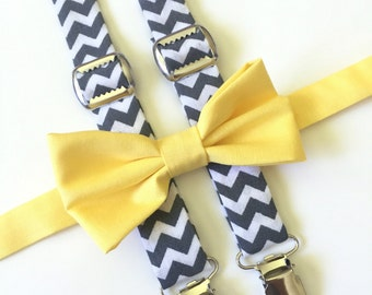 Gray Suspender and Bow Tie Set, Gray and Yellow Suspender and Bow Tie, Gray Chevron Suspenders, Yellow Bow Tie, Baby Suspenders, gray chevro