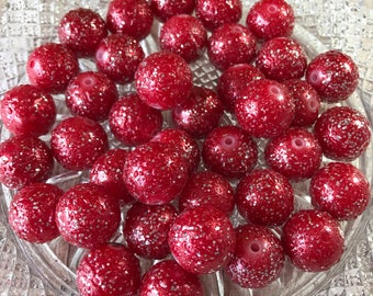 20mm Chunky Beads , Red Wrinkled Glitter Pearl Chunky Bubblegum Beads , 10pc bead set , Gumball beads , Wholesale beads