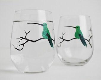 Hummingbirds Stemless Glasses - Set of 2 Hummingbird Glasses - Mother's Day, Hummingbirds, Green Hummingbirds, Hummingbird Artwork