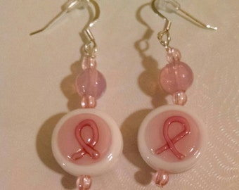 Hope Breast Cancer Awareness Pink Ribbon Glass  Bead Earrings Item No. 17