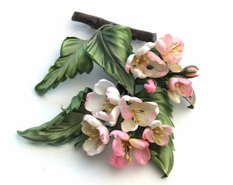 READY to SHIP hand painted silk apple blossom brooch, Mother's Day gift, spring jewelry, silk flowers, apple blossom jewellery