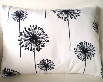 Black White Lumbar Pillow Cover, Throw Pillow, Cushion Cover, Black White Dandelion Decorative Pillow Couch Bed Sofa, 12 x 16  or 12 x 18
