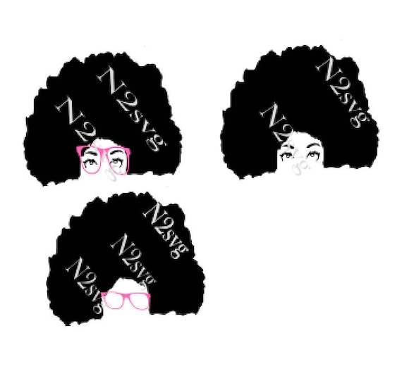 Afro Lady With Glasses Bundle Svg Digital File Svg Afro