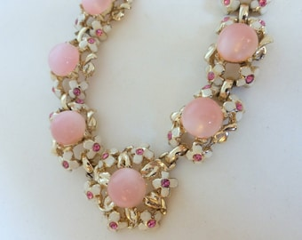 Vintage 1950's Pink Moonglow Plastic, White Enamel Flowers and Pink Rhinestone Gold Collar Necklace