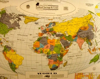 Vintage world map etsy gumiabroncs Images
