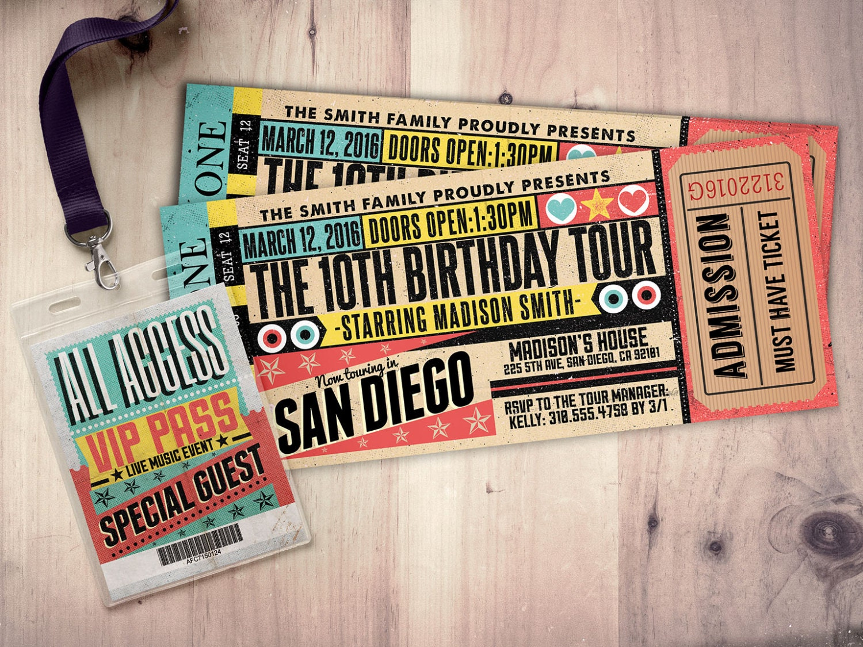 Pop star, Rock Star concert ticket birthday party invitation- Music ...