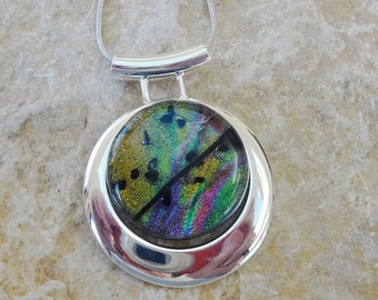 Dichroic Fused Glass in a Silver Setting, Round Dichroic Glass Pendant, Rainbow Glass, Round Dichroic Necklace, Round Fused Glass Slide