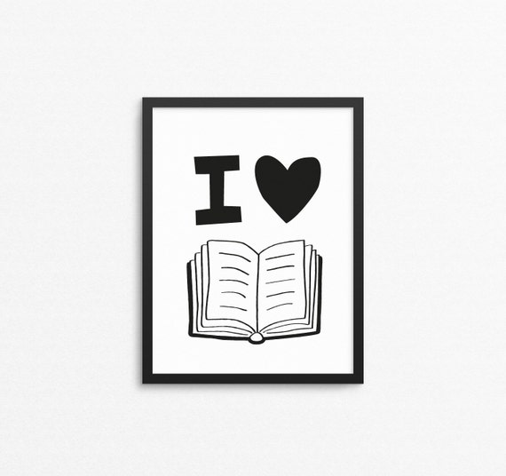 Kids wall art i love books reading quote print printable