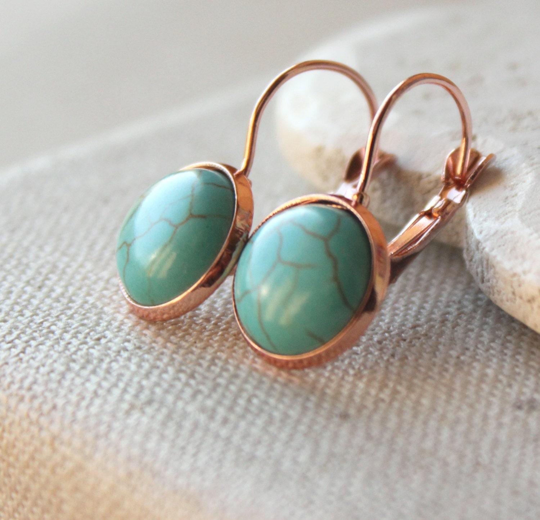 Turquoise Earrings Gold Turquoise dangle Earrings PIERCED or