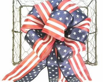 American Flag Bow - Patriotic Bow - 4th of July Bow