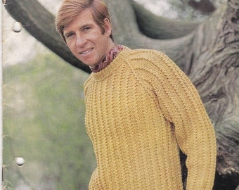 ON SALE Sirdar Knitting Pattern No 9955  for Mens  Jumpers/Sweaters, Cardigans/Jackets,- Vintage 1960s