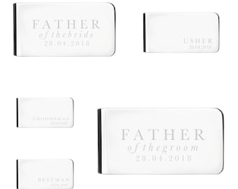 Custom Money Clip for Father of the Bride, Father of the Groom, Best Man, Usher, Groomsman | Personalized Money Clip | Wedding Party Gifts