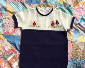 Knit Infant Baby Chicks 60's Onesie