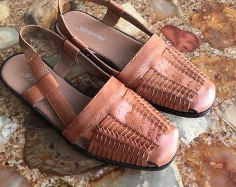 Vintage 90s St Johns Bay Brown Leather Sling Backs 7.5