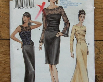 2004 Vogue pattern 7852 misses evening special occasion close fitting dress in 2 lengths sz 12-14-16  uncut