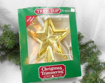 Vintage tree topper Christmas tree topper gold lighted star tree topper vintage star tree topper vintage lighted tree topper 1980s