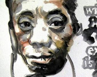 James Baldwin Art Print Writer Poet Activist Watercolor Illustration Portrait Wall Decor Limited Edition Poster Print