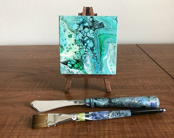Acrylic Painting, Mini Canvas with Easel, Acrylic Pour Painting, Blue, Fluid Art, Abstract Painting, Mother's Day Gift, Desk Decor, Desk Art