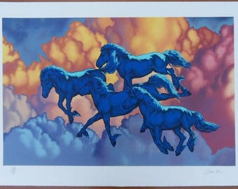 Michel Bez - surreal blue horses - lithograph