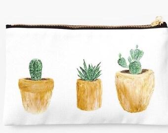 Gold Cactus Pouch, Makeup Bag, bridesmaid pouch, succulent bag, cactus pouch, cosmetic pouch, cactus makeup bag, succulent pouch