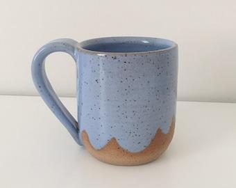 SALE! Periwinkle Cloud Ceramic Coffee Mug, light blue coffee cup pottery mug wave design light blue mug tropical scalloped ceramic mug