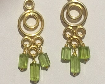 Gold Vermeil Chandelier Teardrop Earrings with Natural Peridot Beads and Vermeil Earring Wires